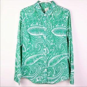 J. Crew perfect shirt button down green paisley